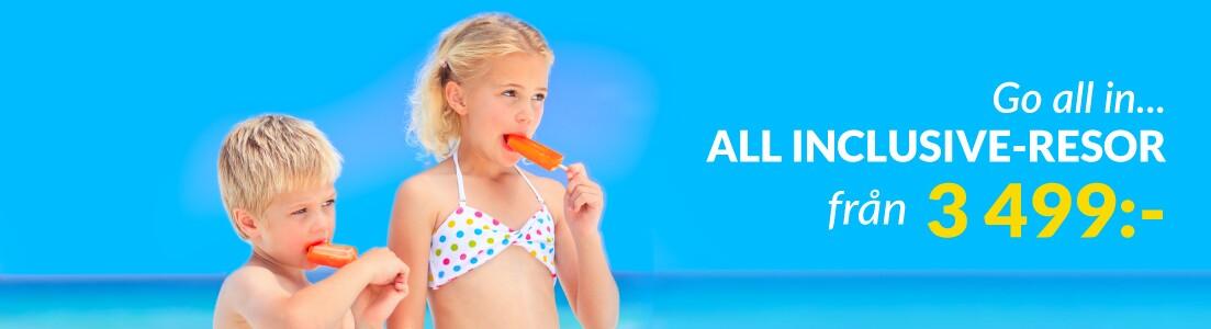 Barn äter glass på ett All Inclusive-hotell på Kanarieöarna