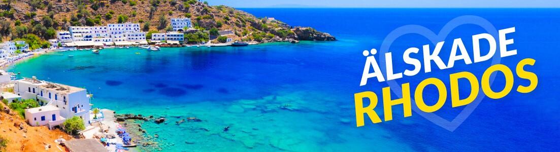 Utsikt över en strand på Rhodos