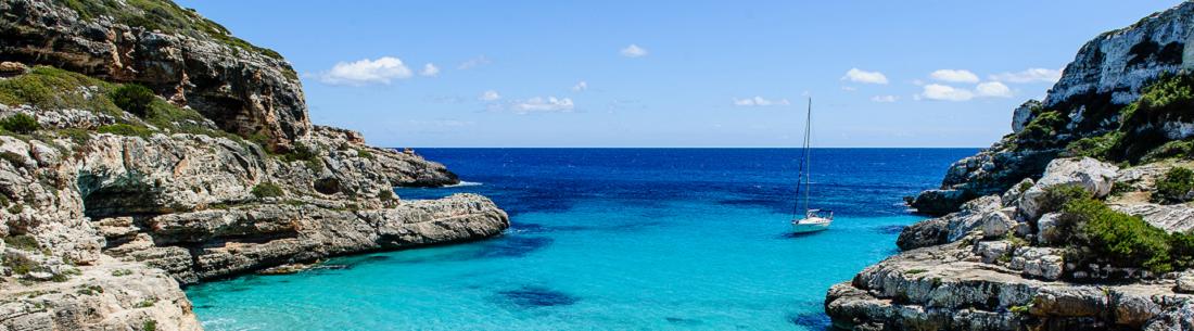Utsikt över strand i Mallorca